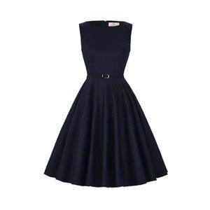 Dresses & Skirts - DarkBlue Boatneck Vintage Tea Belted Dress